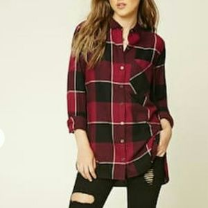 Forever 21 Plaid Woven Button Down Shirt